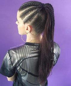 High Long Brunette Ponytail With Cornrows Box Braids Hairstyles, Curly Hair Braids, Blonde Box Braids, Braided Ponytail Hairstyles, Curly Hair Styles, Natural Hair Styles, Hairstyle Ideas, Ponytail Ideas, Updo Hairstyle