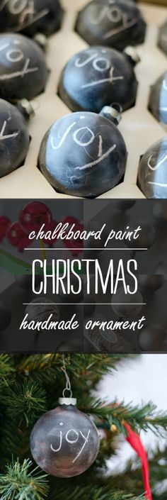 Chalkboard Paint Christmas Handmade Ornaments: Don't throw those old ornaments that have seen better days away. Give them a good coat of Rust-Oleum Chalkboard Spray Paint for the perfect, customizable ornament. Thanks to @paintschips for the inspiration! http://www.rustoleum.com/product-catalog/consumer-brands/specialty/chalkboard-spray/