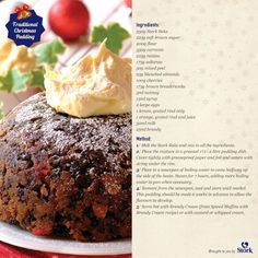 A delightful pudding to finish off your delicious meal! Xmas Pudding, Christmas Pudding, Christmas Treats, Figgy Pudding, Christmas Recipes, Christmas Time, English Pudding, Sweet Recipes, Cake Recipes