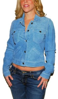 7ba2f3327246 Polo Ralph Lauren Womens Suede Leather Jacket Coat Blue Medium  497.00