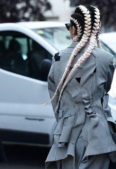 Bleach braid rows at New York fashion week.