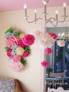 Tissue paper flower wall hanging