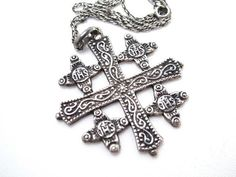 Sterling Silver Jerusalem Cross Pendant by LostMarblesVintage, $50.00