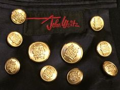 John Weitz Replacement Buttons Lot Set of 8pc Gold Tone Metal Crest for Blazer Suit Jacket Sport Coat by AgeOldGlass on Etsy