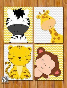Items similar to Jungle Animals Nursery Wall Art Decor Giraffe Zebra Monkey Tiger Chevron Grey Yellow Set of 4 Matte Finish on Etsy Jungle Nursery, Animal Nursery, Nursery Wall Art, Nursery Ideas, Woodland Nursery, Nursery Room, Baby Zoo, Quilt Baby, Jungle Animals