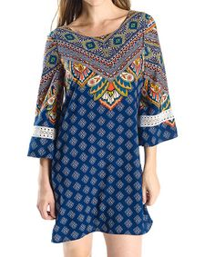 Love this Navy Scarf-Print Cutout-Back Shift Dress on #zulily! #zulilyfinds