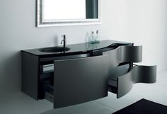 best small bathroom storage ideas for . We've already done the work for you when it comes to finding and curating small bathroom storage ideas. Black Bathroom Furniture, Contemporary Bathroom Furniture, Black Cabinets Bathroom, Black Vanity Bathroom, Bathroom Vanity Storage, Bathroom Vanity Designs, Modern Bathroom Design, Bathroom Interior, Wall Cabinets