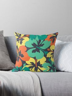 """""""Flower Print, Flower Pattern"""" Throw Pillow by MsD7   Redbubble Floor Pillows, Throw Pillows, Flower Prints, Flower Patterns, Flowers, Toss Pillows, Floral Patterns, Doodle Flowers, Cushions"""