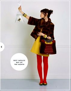 not sure what's goin on with the goldfish and fur coat. But the yellow dress + red stockings + owl bag = awesome.