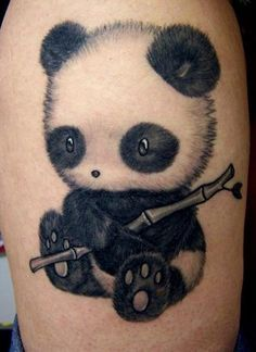 Cute lil panda bear tattoo. Made by Catherine in Mystic Tattoo, Grenoble, France