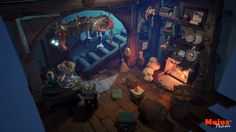 3D environment low poly model inspiring from concept art by Greeimm Bae, it was a good challange for us to control this number of details with low poly count, we used,for modelling Maya and zbrush, uv layout and for baking used substance, and for final p…