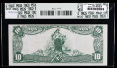 1902, $10 National Bank Note. The State NB, St. Louis, MO. Ch. #5172. PCGS Choice About New 58PPQ. Fr-632. KL-1236. This bank was chartered on January 21, 1899 and was liquidated during The Great Depression on June 29, 1929. Embossing, bold signatures, nice margins, bright paper, and dark inks combine to provide this very lightly handled note with an exceptional appearance. Estimated Value $250 - 350. #Banknotes #USNational #MADonC