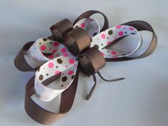 Butterfly Hair Clip Polka Dot Brown Pink White Double Layer