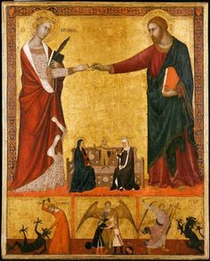 """The cock skin ring: """"Mystic Marriage of St Catherine"""" Barna da Siena - c. 1340 This painting shows Jesus slipping the Holy Prepuce onto St Catherine's finger. St Catherine of Siena is one of the Jesus's 76 virgin brides. During the mystical marriage Christ appears to..."""