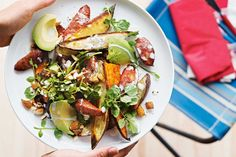 Don't underestimate this salad: packed with good carbohydrates, healthy fats and protein, it's a meal in itself. Pre-roast the sweet potatoes ahead of time for a speedy mid-week supper.