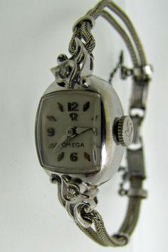 Ladies Art Deco Omega 14K Gold Diamond Swiss Wrist by MercyMadge