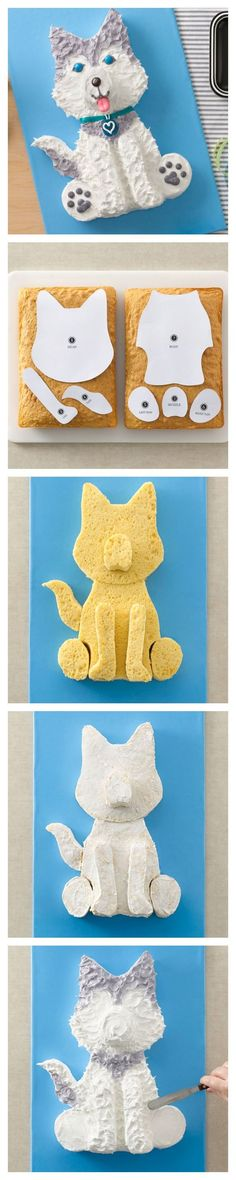 Husky Dog Cake and template for your favorite Husky! or shiba dog cake? Deco Cupcake, Cupcake Cookies, Cookies Kids, Yummy Cookies, Cake Decorating Tips, Cookie Decorating, Decorating Supplies, Dog Cake Recipes, Decoration Patisserie