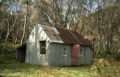 Horse Camp Hut, one of many huts that are spread through the Australian high country. Most were built by cattlemen, although some were built during the construction of the Snowy Mountains Scheme, Guthega, N.S.W.
