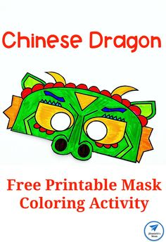 Chinese Dragon Mask Printable Coloring Activity - JDaniel4s Mom Chinese New Year Activities, Chinese New Year Crafts, New Years Activities, Color Activities, Activities For Kids, New Year's Crafts, Fun Crafts For Kids, Craft Stick Crafts, Toddler Crafts