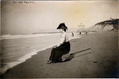 Beach attire (Cliff House and Sutro Heights behind) Old Pictures, Old Photos, Vintage Photos, Seaside Beach, Ocean Beach, Edwardian Era, Victorian, Cliff House, Beach Rocks