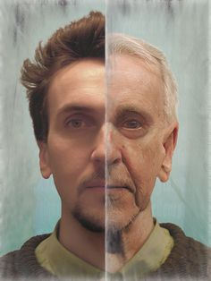 This is one of the only side by side old age to younger images I found of a man, I think it's good to look at aging on everyone for understanding how wrinkles form on different face structures. Old Man Makeup, Makeup Over 40, Prosthetic Makeup, Facial, Power Of Makeup, Basic Makeup, Character Makeup, Character Ideas, Applying Eye Makeup