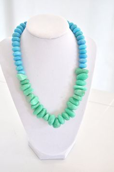 Green Turquoise Necklace Colorblock Necklace by AprilGetsCrafty, $44.00