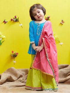 Blue Green Cotton Sharara Suit - Set of 3 Kids Dress Wear, Kids Gown, Children Dress, Girls Dresses Sewing, Little Girl Dresses, Baby Summer Dresses, Baby Dresses, Prom Dresses, Baby Girl Dress Design