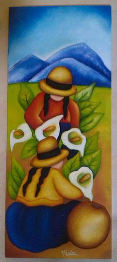 Lily Painting, Cactus Painting, Fabric Painting, Diego Rivera Art, Mexican Paintings, Navajo Art, Peruvian Art, Southwest Art, Mexican Folk Art
