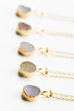 Druzy Necklace Druzy jewelry Drusy NecklaceGold by AmeyaaJewelry
