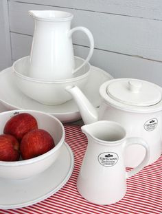 White Pottery from Portugal combined with red.