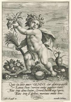 Crispijn van de Passe (I) | Genius, Crispijn van de Passe (I), 1589 - 1611 | Genius, een putto met een papaverkroon en in zijn handen de vruchten van het land (een tros druiven en een korenbundel) die de basisbehoeftes voedsel, drank en slaap vertegenwoordigen. Dit waren volgens het Latijnse onderschrift van de prent onmisbare giften die de natuur de mens geschonken had om te overleven.