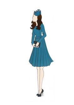 """Royal Tour Australia Duchess of Cambridge Kate Middleton Fashion Print 8.5""""x11"""" Emilia Wickstead Teal Pleat Dress"""