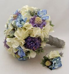 Blue Silk Flower Bridal Bouquet with Groom's Boutonniere - Wedding Bouquet Silk Flower Wedding Blue White Periwinkle Wedding Bouquet