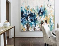 Original Large Abstract Painting, Acrylic Painting on Canvas. Extra Large Painting - Wall Art, Modern Texture Yellow, Blue, White, Grey