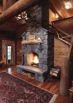 Log Cabin Adirondack Cabañas de lujo Adirondack Upscale Lodge cabin home,, Cabin Fireplace, Rustic Fireplaces, Fireplace Design, Stacked Stone Fireplaces, Fireplace Kitchen, Fireplace Ideas, Luxury Log Cabins, Log Cabin Homes, Rustic Cabins