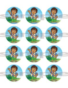 Go Diego Go Edible Image Frosting Sheet Cupcake by customicing, $9.50