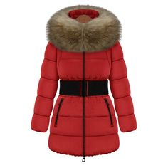 Trendy Style Faux Fur Collar Long Sleeve Solid Color with Belt Women's Coat