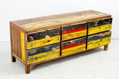 """Cahaya Dresser - 6 Drawer 2H03   Constructed from retired fishing boat wood   L59"""" x D19"""" x H23.5"""" #dresser #boatwood #colour #rustic #reclaimed"""