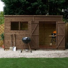 Wooden Pressure Treated Storage Shed Windows Double Door OSB Pent for sale online Garden Storage Shed, Diy Shed, Shed Windows, Shiplap Cladding, Garden Fence Panels, Shed Plans 12x16, Sheds For Sale, House Viewing, Courtyards
