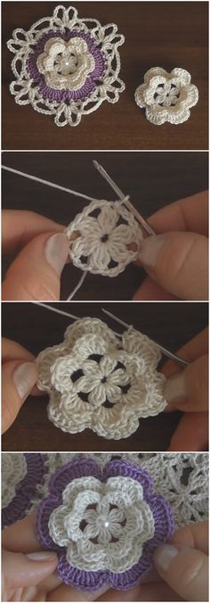 Crochet Flowers Easy Crochet Easy and Beautiful Flower - Crochet Easy and Beautiful Flower Fast Crochet, Love Crochet, Irish Crochet, Crochet Baby, Beautiful Crochet, Beautiful Flowers, Freeform Crochet, Crochet Motif, Crochet Doilies
