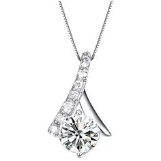 White Gold Platinum Sterling Silver Pendant Necklace with Cubic... ($50) ❤ liked on Polyvore featuring jewelry, necklaces, sterling silver pendant necklace, diamond jewelry, platinum diamond necklace, platinum necklace and cubic zirconia necklaces
