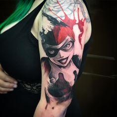"tattooworkers: ""Tattoo by "" Joker And Harley Tattoo, Harley Tattoos, Badass Tattoos, Funny Tattoos, Sleeve Tattoos For Women, Tattoo Sleeve Designs, Tattoo Designs For Women, Tattoos For Guys, Mini Tattoos"