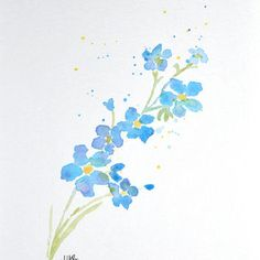 Watercolor Forget Me Not Flower Painting Small A5. Original Watercolor Art, Watercolor Poppy, Nursery, Wall Decor by MABartStudio