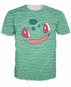 Bulbasaur Face T-Shirt Bulbasaur Face T-Shirt Pokemon grass type starter pocket monster's skin print Casual t shirt Summer Style tee Tops Women men JAKKOU††HEBXX JAKKOU††HEBXX - JAKKOUTTHEBXX