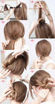 The side-swoop bun can be as polished or imperfect as you want it to be, just gather a rat tail comb, teasing brush, hair elastic, and bobby pins.