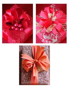 Mix richly colored wrapping paper and ribbons to create sophisticated gift wrapping looks. - Carolyn Roehm #Gift Wrapping #elegant #red