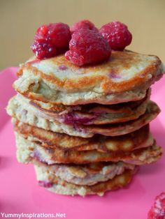 "Grain Free Berry Pancakes. Success! Replace two of the eggs with two bananas and they'll be super moist. Otherwise they have that typical ""paleo texture"", which isn't bad, but not that desirable either."
