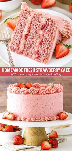 Homemade Strawberry Cake, Fresh Strawberry Cake, Strawberry Cake Recipes, Strawberries And Cream, Strawberry Cake From Scratch, Banana Recipes, Strawberry Cream Cheese Frosting, Easy Cake Recipes, Cookie Recipes