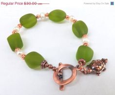 ON SALE Green Sea Glass Bracelet Copper and Sea Glass by lyrisgems, $26.40