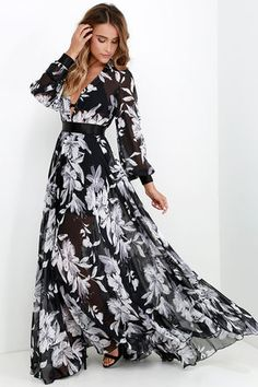 Buzios Beauty Black and Ivory Floral Print Maxi Dress at Lulus.com!